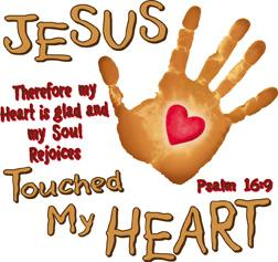 Jesus Touched My Heart Christian Heat Transfers